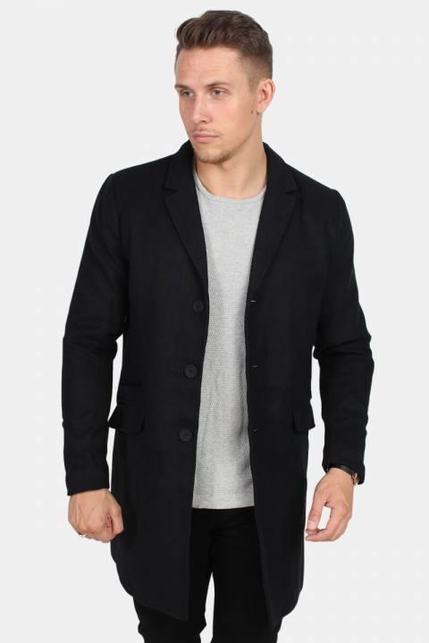 Only & Sons Julian Solid Wool Uldfrakke Sort
