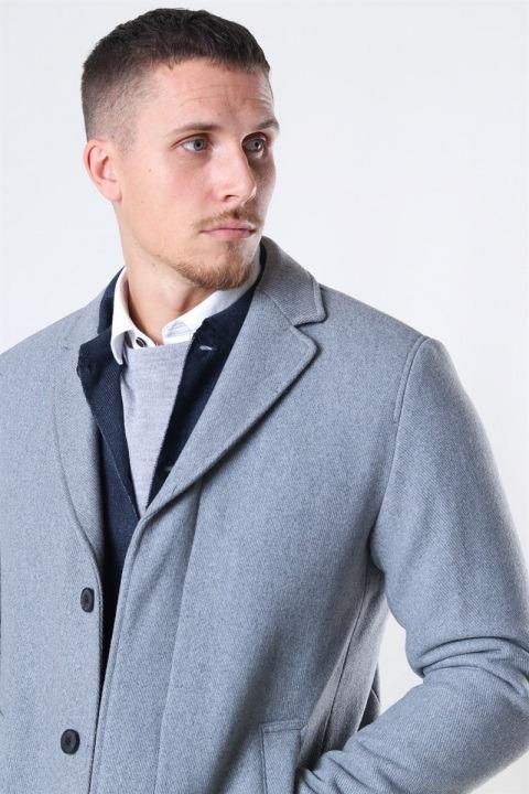 Selected Hagen Uldfrakke Grey Melange