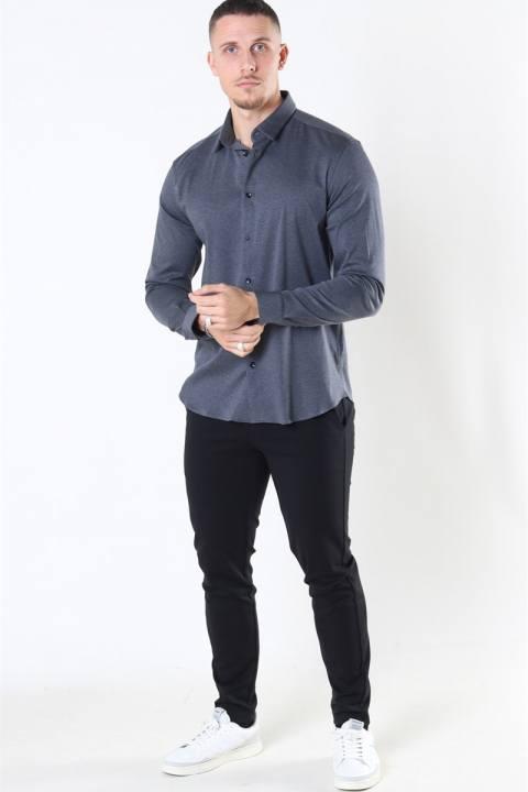 Mos Mosh Marco Jersey Skjorta Dark Grey Melange