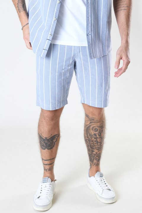 Kronstadt Hector Oxford stripe 4 shorts Light Blue