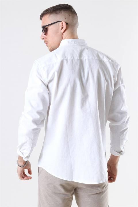 Clean Cut Cotton Linen Skjorta White