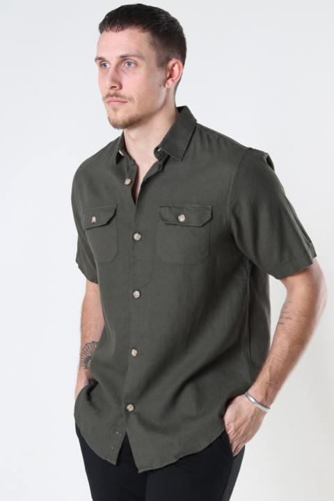 Denim project DP Linen ss shirt 140 DEEP DEPTHS
