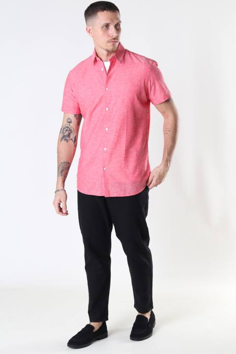 Selected SLHSLIMNEW-LINEN SHIRT SS CLASSIC W Bittersweet