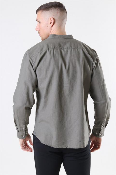 Clean Cut Cotton Linen Mao Skjorta Dusty Green