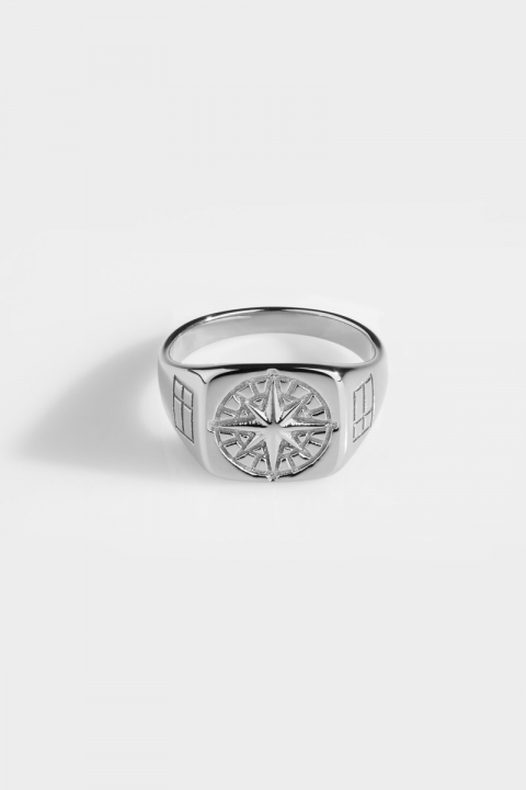 Northern Legacy Compass Signature Ringa Silver