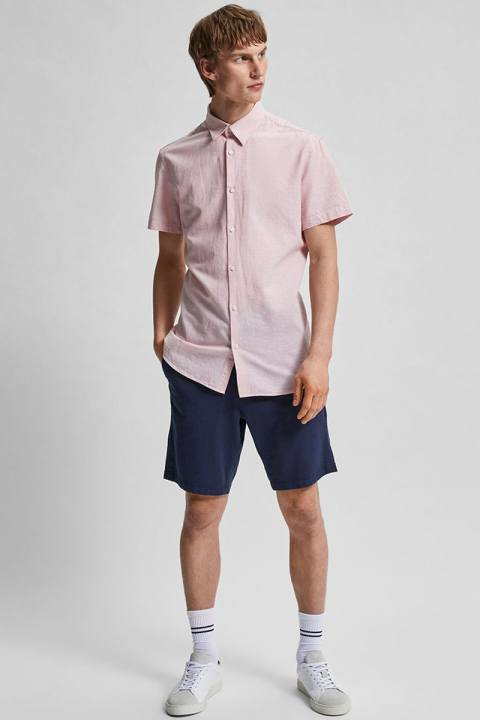 Selected SLHSLIMNEW-LINEN SHIRT SS CLASSIC W Misty Rose