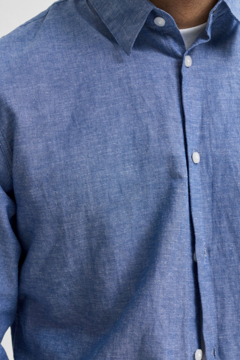 Selected SLHSLIMNEW-LINEN SHIRT LS W NOOS Medium Blue Denim