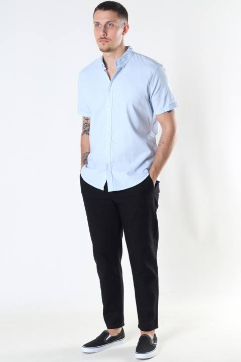 Clean Cut Copenhagen Cotton / Linnen Shirt S/S Sky Blue