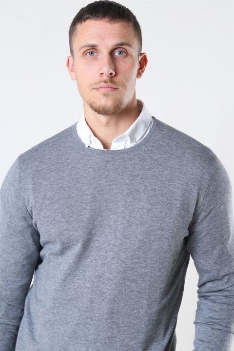 Mos Mosh Adam Supima O-Neck Knit Grey Melange