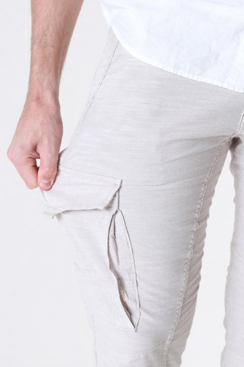 Jack & Jones Paul Flake Linen Cargo Pants Silver Birch
