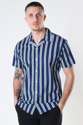 Cuba printed stripe s/s shirt Navy