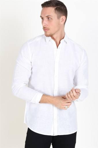 Caiden LS Solid Linen Skjorta White