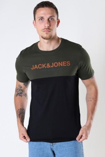 JJEURBAN BLOCKING TEE SS O-NECK NOOS Forest Night Hawaiian-Black Print/Slim Fit