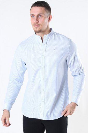 Oxford Stretch Mao Stripe L/S Skjorta Light Blue