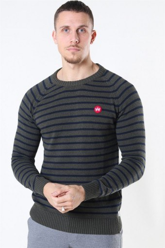Liam Recycled Cotton Striped Sticka Army Mel/Navy