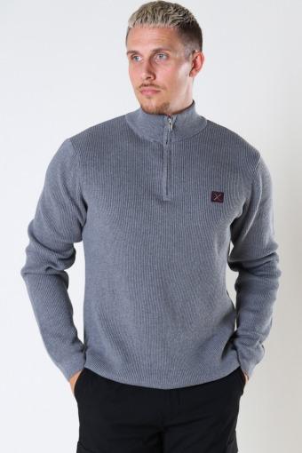 Basic Organic 1/2 Zip Knit Light Grey Melangé