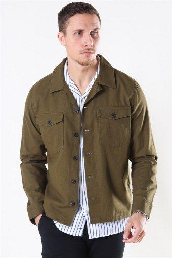 East Linen Overshirt Dark Olive