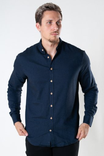 Dean Diego Cotton henley shirt Navy