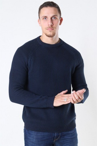 Only And Sons Rato 5 Struc Raglan Crew Sticka Dress Blue