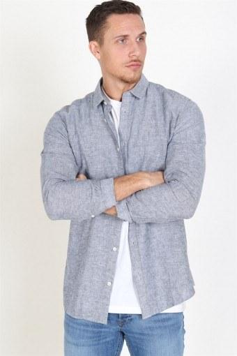 Caiden LS Solid Linen Skjorta Dress Blues