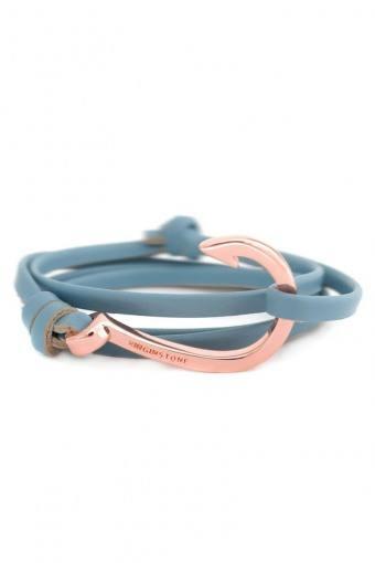Hook Leather Armband Lake Blue/Cobber