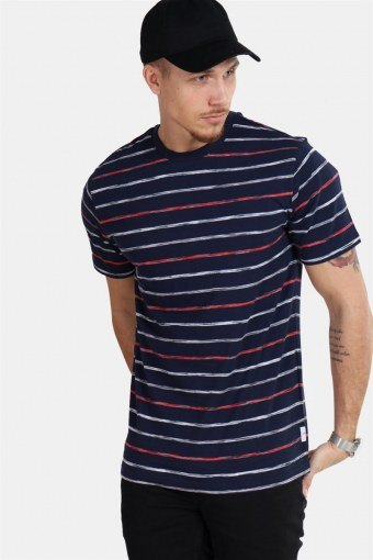 Leonard Stripe SS T-shirt Majolica Blue