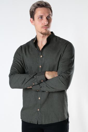 Dean Diego Cotton henley shirt Army mel