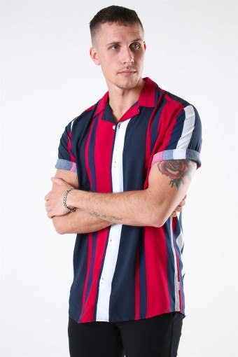 Vilas S/S Reverse Viscose Skjorta Persian Red Stripes