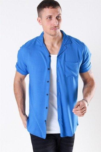 Silo Solid Viskose Skjorta S/S Baleine Blue