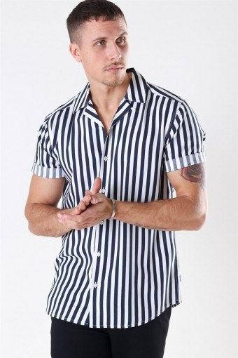 Wayne Striped Viscose Skjorta Dress Blues