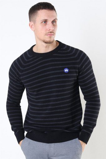 Liam Recycled Cotton Striped Sticka Black/Charcoal