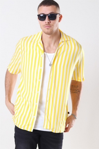 El S/S Cuba Skjorta Yellow/White