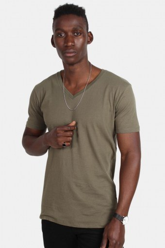 Klockaban Classics TB1559 Basic V-Neck T-shirt Olive