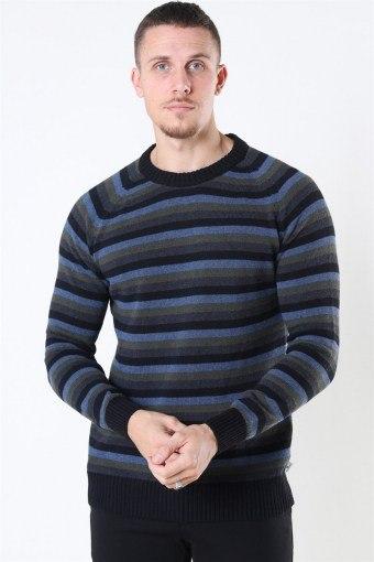 Liam Crew Multi Stripe Sticka Black/Army
