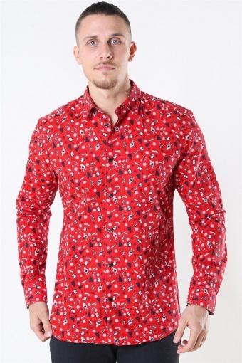 LS Funny Ditsy Skjorta Pompeian Red