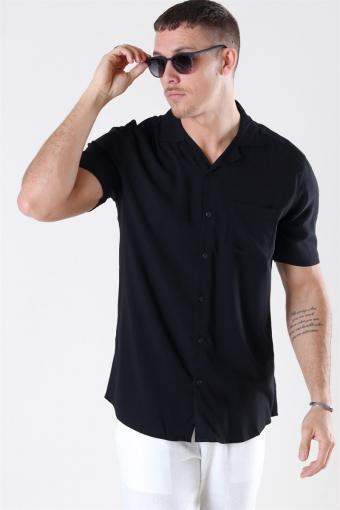 Silo Solid Viscose Skjorta Black