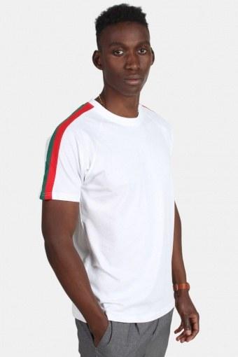 Klockaban Classic TB2059 Stripe Shoulder Raglan T-shirt White/Firered/Green