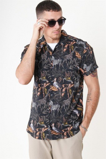 Gabrial S/S Animal Viscose Skjorta Black/Zoo Print