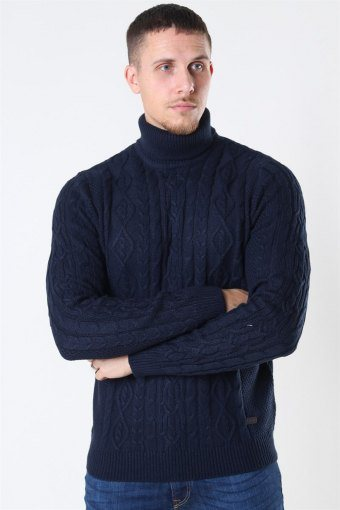 Rigge 3 Cable Roll Neck Dark Navy