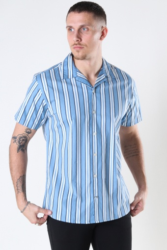 Cuba printed stripe s/s shirt Light Blue