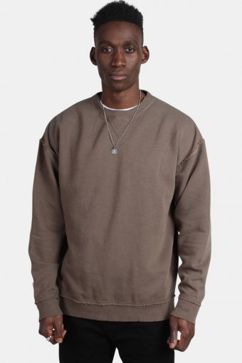 Klockaban Classics Oversized Open Edge Crew Sweat Army Green