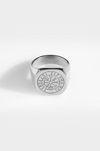 Oversize Vegvisir Ringa Silver