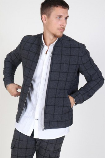 Como Wool Check BomberJacka Charcoal/Black
