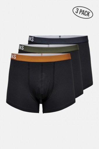 ONSFITZ SOLID BLACK TRUNK 3 PACK Black P. SPICE + D. NAVY + PEAT WAISTBAND