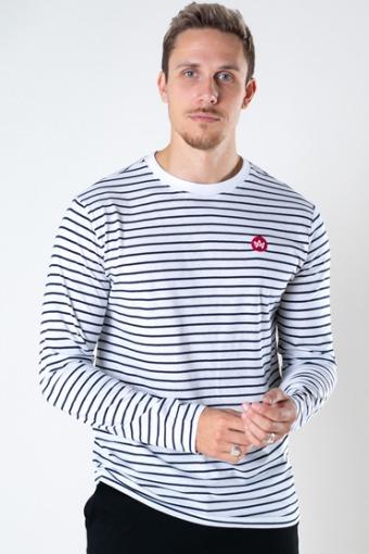 Timmi Organic/Recycled L/S stripe tee White / Navy