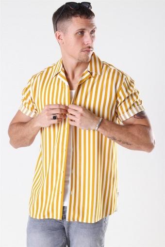 Wayne Striped Viscose Skjorta Golden Spice