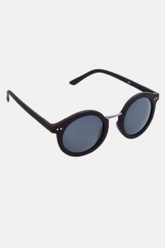 Fashion 1517 Rund Solgasögon Black Rubber/Gun Dark Grey Glass