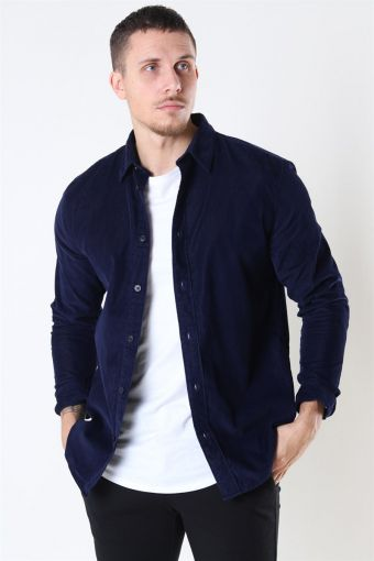 Reg Henley Fløjls Skjorta LS Maritime Blue
