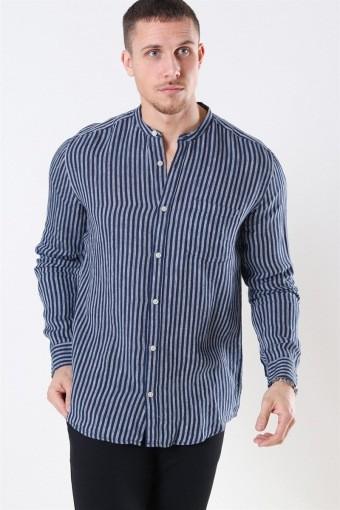Luke LS Linen Mandarine Skjorta Dress Blues/White Stripes