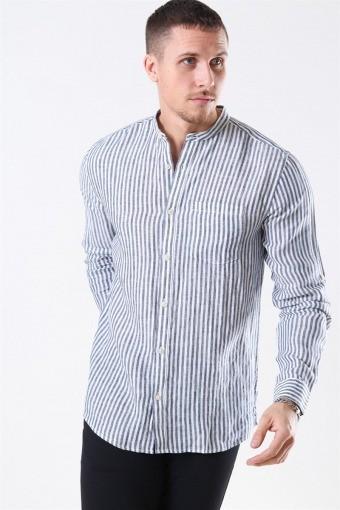 Luke LS Linen Mandarine Skjorta White/Blue Stripes
